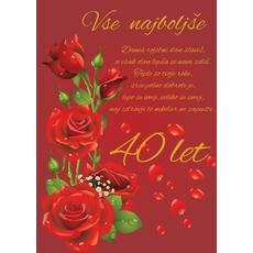 Voščilo, čestitka, bordo, danes rojstni dan slaviš, za 40 let, rdeče vrtnice