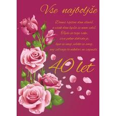 Voščilo, čestitka, roza, danes rojstni dan slaviš, za 40 let, roza vrtnice