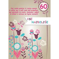 Voščilo, čestitka barvne rože za 60 let, naj vsako poletje ti cvetja nasuje