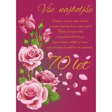 Voščilo, čestitka, roza, danes rojstni dan slaviš, za 70 let, roza vrtnice