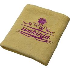 Brisača Naj svakinja, rumena 100x5Ocm 100% bombaž