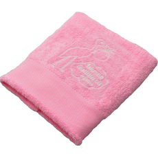 Brisača ob rojstvu, 100x5Ocm, svetlo roza, štorklja