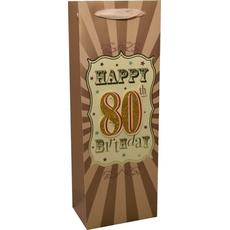"""Darilna vrečka za steklenico """"80"""" - moška, 35x12,5cm"""