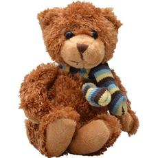 Plišasta igrača - medvedek Classic, rjav, s šalom, 12 cm