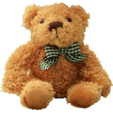 Plišasta igrača - medvedek Classic, svetlo rjav, z zeleno-rumeno pentljo, 12 cm