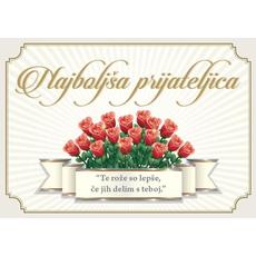 Voščilo, čestitka - rdeče vrtnice, najboljša prijateljica, bleščice/zlatotisk