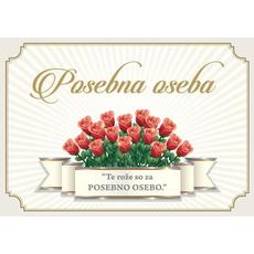 Voščilo, čestitka - rdeče vrtnice, posebna oseba, bleščice/zlatotisk