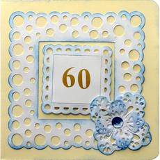 Voščilo, čestitka ročno delo, rumeno modra za 60 let