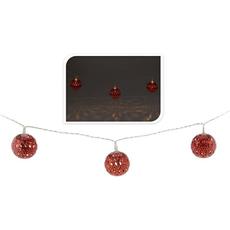 Božične lučke za notranjo uporabo z rdečimi kovinskimi kroglicami, 10 led, 1,75m
