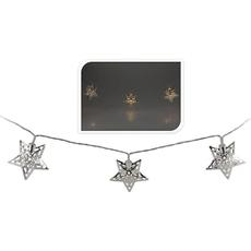 Novoletne lučke za notranjo uporabo s srebrnimi kovinskimi zvezdami, 10 led, 1,75m