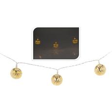 Božične lučke za notranjo uporabo z zlatimi kovinskimi kroglicami, 10 led, 1,75m