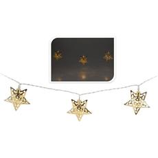 Božične lučke za notranjo uporabo z zlatimi kovinskimi zvezdami, 10 led, 1,75