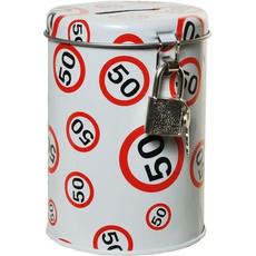 Hranilnik - kovinska pločevinka, prometni znak 50, 10,5x8cm