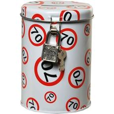 Hranilnik - kovinska pločevinka, prometni znak 70, 10,5x8cm