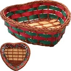 Pletena košarica srček, 10x11x3,5cm