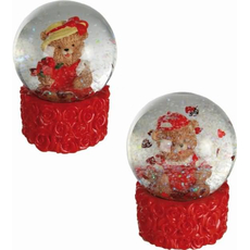 Snežna krogla z medvedkom, polymasa, 6x4.5cm, sort.
