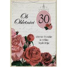 Voščilo, čestitka - ob obletnici, 30, rdeče vrtnice, Iskrene čestitke in veliko lepih želja