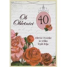 Voščilo, čestitka - ob obletnici, 40, rdeče vrtnice, Iskrene čestitke in veliko lepih želja