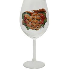 Kozarec za vino poslikan - grozd - bel,  0.58l