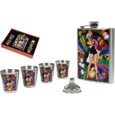 Set, prisrčnica Casino, 13 cm in 4 kovinski kozarčki v darilni embalaži, 2.36dcl