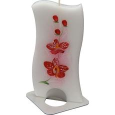 Sveča dišeča na stojalu, orhideja-rdeča, v darilni embalaži, 14x6cm