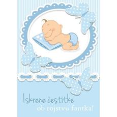 Voščilo, čestitka Iskrene čestitke ob rojstvu, speči fantek - bleščice/zlatotisk