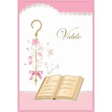 Voščilo, čestitka - Vabilo za birmo, knjiga in palica, roza