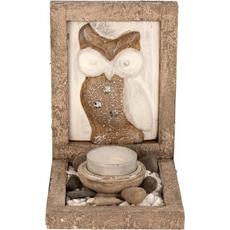 Dekorativni set s sliko sove, stojalo za čajno lučko, dekorativni kamenčki, 14.5x10cm