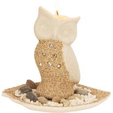 Dekorativni set, stojalo za čajno lučko v obliki sove, podstavek, dekorativnimi kamenčki, 13,5cm