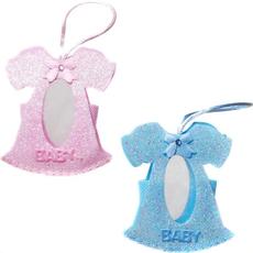 """Vrečka v obliki krstne oblekice """"baby"""", modra/roza, 8x8cm"""
