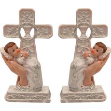 Dojenček v krstni obleki, ležeči v dlani ob križu, polimasa, 11.5cm, sort.