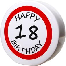 "Hranilnik ""Happy Birthday"" prometni znak 18, keramika, 15cm"