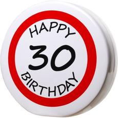 "Hranilnik ""Happy Birthday"" prometni znak 30, keramika, 15cm"