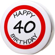 "Hranilnik ""Happy Birthday"" prometni znak 40, keramika, 15cm"