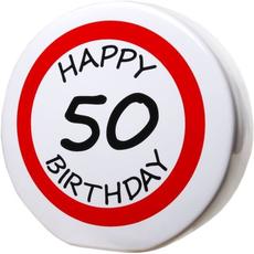 "Hranilnik ""Happy Birthday"" prometni znak 50, keramika, 15cm"
