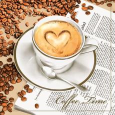 Papirnate serviete, knjiga in kava,  33x33cm, 20kos.