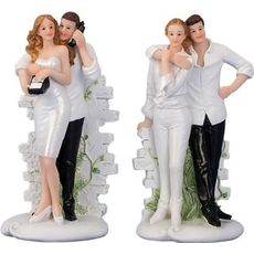 Poročni par iz polimase, sort. 14x6.5cm