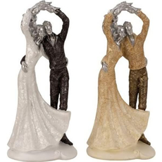 Poročni par iz polimase, zlat/srebrn, 34x15cm