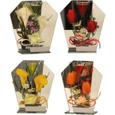 Svečnik steklen, cvetje, z led lučko sort., 21x11cm