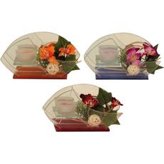 Svečnik steklen, cvetje, sort.,  10.5x19.5cm