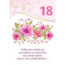 Voščilo, čestitka - bela, rože, veliko sreče in lepih sanj, za 18 - bleščice/zlatotisk