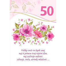 Voščilo, čestitka - bela, rože, veliko sreče in lepih sanj, za 50 - bleščice/zlatotisk