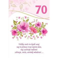 Voščilo, čestitka - bela, rože, veliko sreče in lepih sanj, za 70 - bleščice/zlatotisk