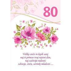Voščilo, čestitka - bela, rože, veliko sreče in lepih sanj, za 80 - bleščice/zlatotisk
