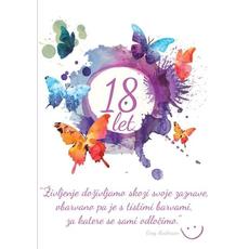 Voščilo, čestitka - bela z metulji, Življenje doživljamo, 18 let - bleščice/zlatotisk