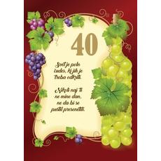 Voščilo, čestitka - svet je poln čudes, rjava, vinska trta, 40 let - bleščice/zlatotisk