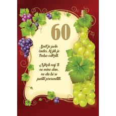 Voščilo, čestitka - Svet je poln čudes, rjava, vinska trta, 60 let - bleščice/zlatotisk