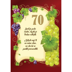 Voščilo, čestitka - Svet je poln čudes, rjava, vinska trta, 70 let - bleščice/zlatotisk