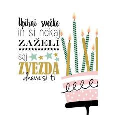 Voščilo, čestitka - Upihni svečke in si nekj zaželi, torta in svečke - bleščice/zlatotisk