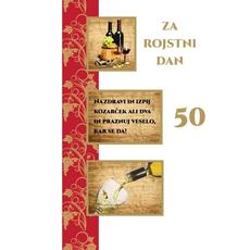 Voščilo, čestitka - za rojstni dan, vino, nazdravi in izpij, 50 - bleščice/zlatotisk